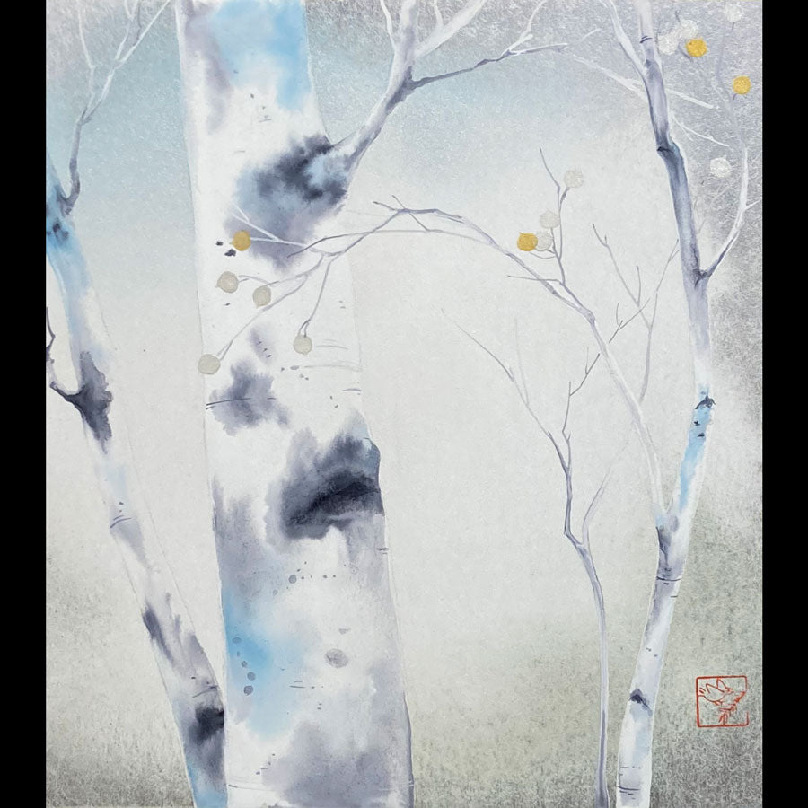 Winter White aspen tree snow painting watercolor on shikishi board artist Kay Stratman