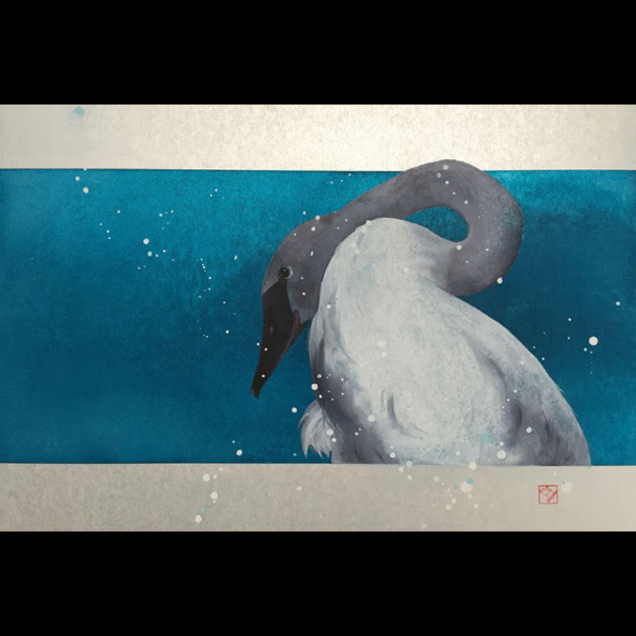 Winter Repose original swan watercolor painting on shikishi board by artist Kay Stratman for sale