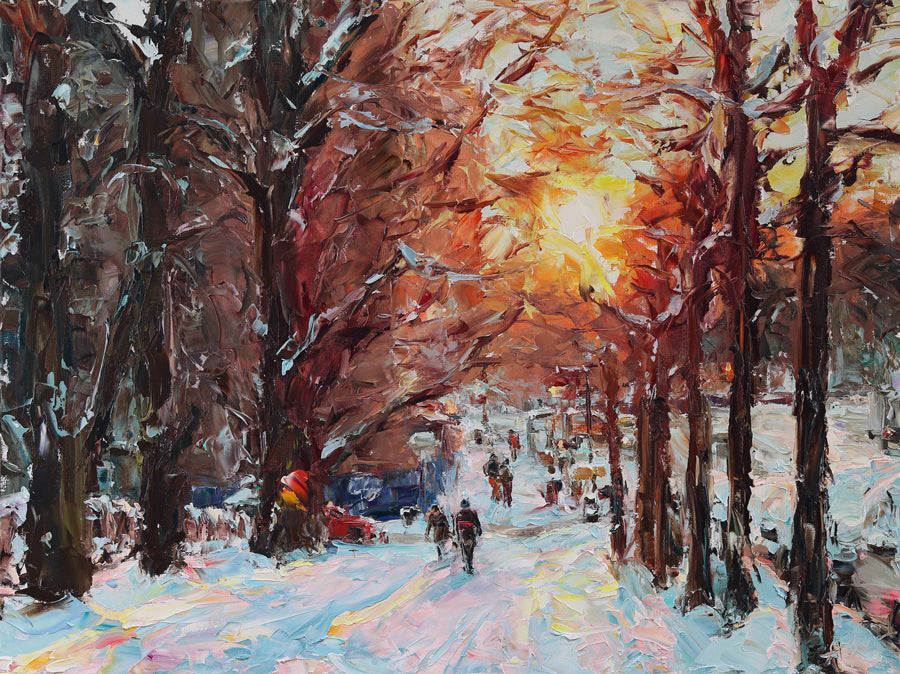 Winter Sunset original landscape painting by artist Lyudmila Agrich