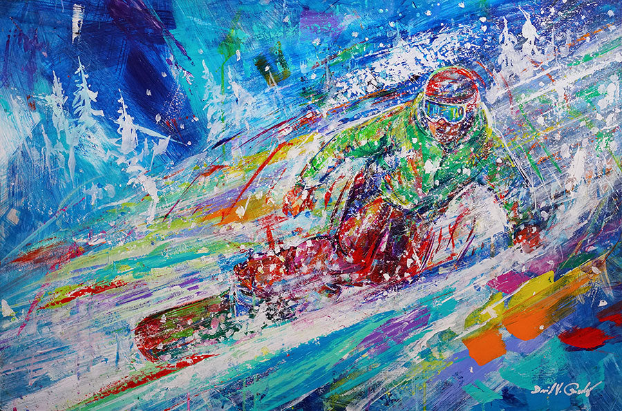 Zipping Through Pow original snowboard painting by artist David Gonzales