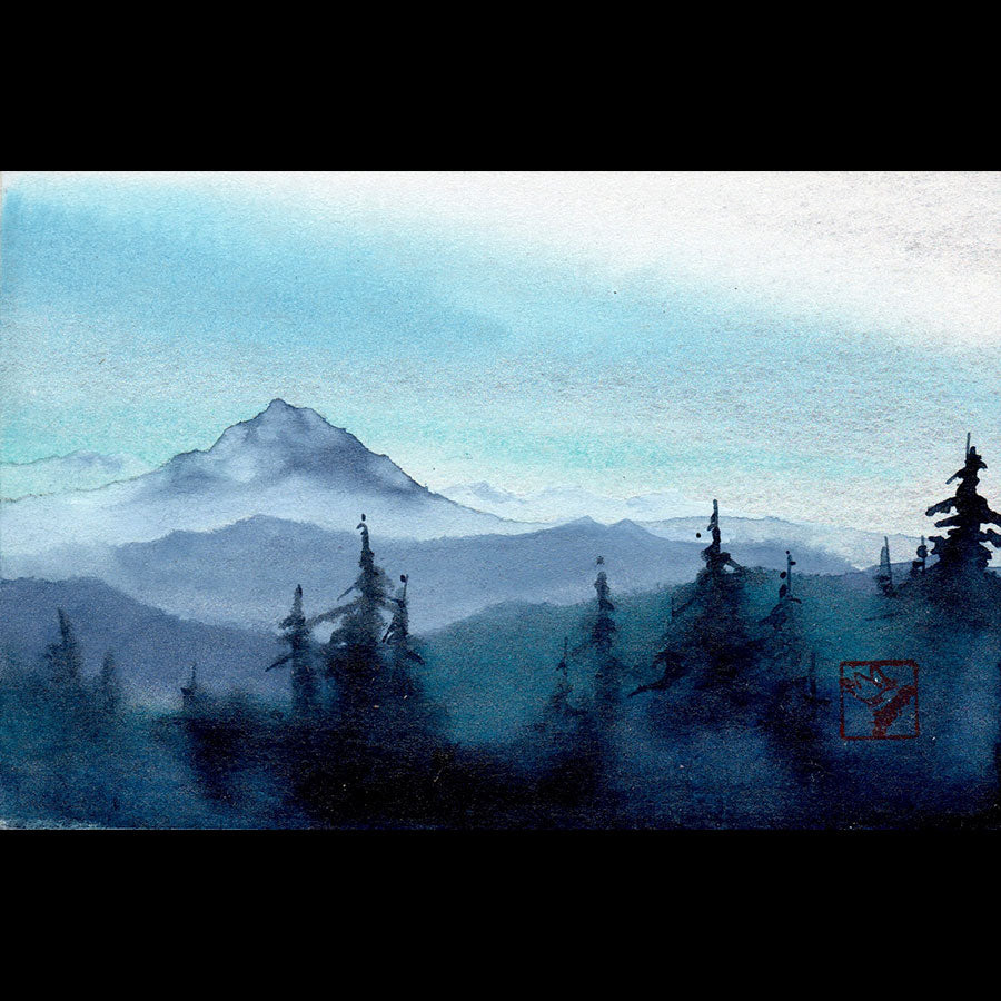 Above the Clouds study original watercolor mountain landscape by artist Kay Stratman