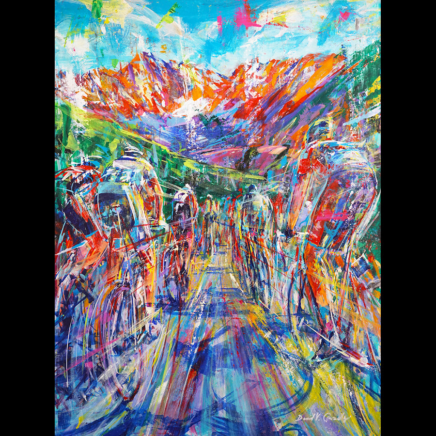 Acceleration Cycling Race Painting by artist David V. Gonzales