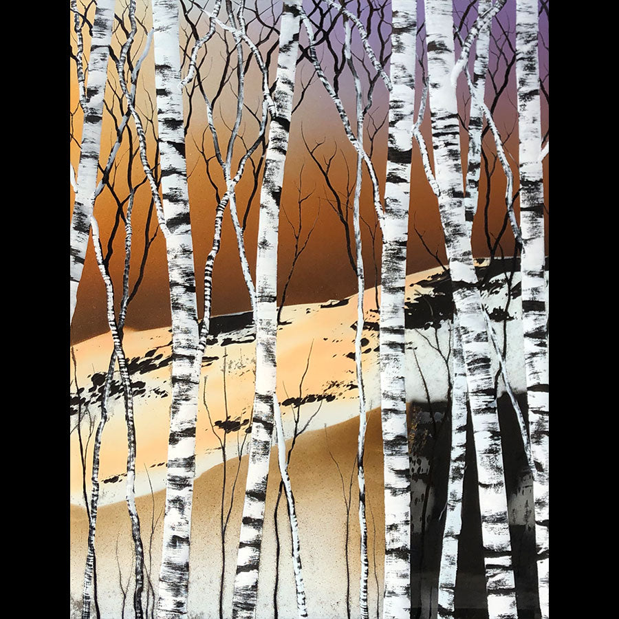 Alpine tree painting on a hand carved cast acrylic canvas by Colorado based artist Christopher Owen Nelson