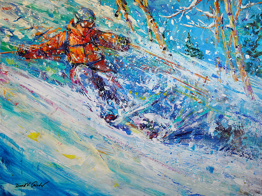 Aspen Powder Skiing Painting by artist David Gonzales