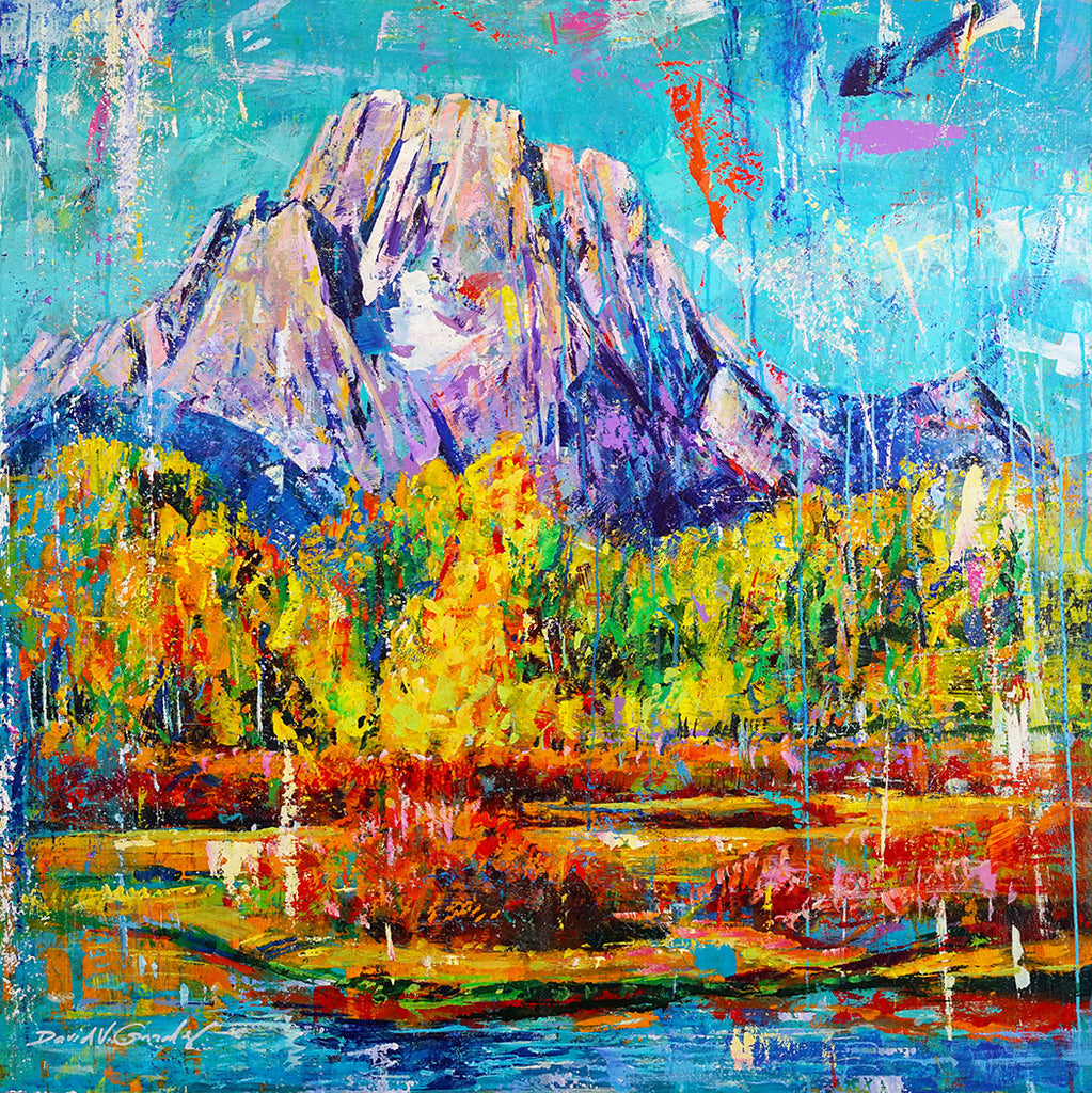Autumn Bliss original acrylic on panel mountain landscape painting by Colorado artist David Gonzales