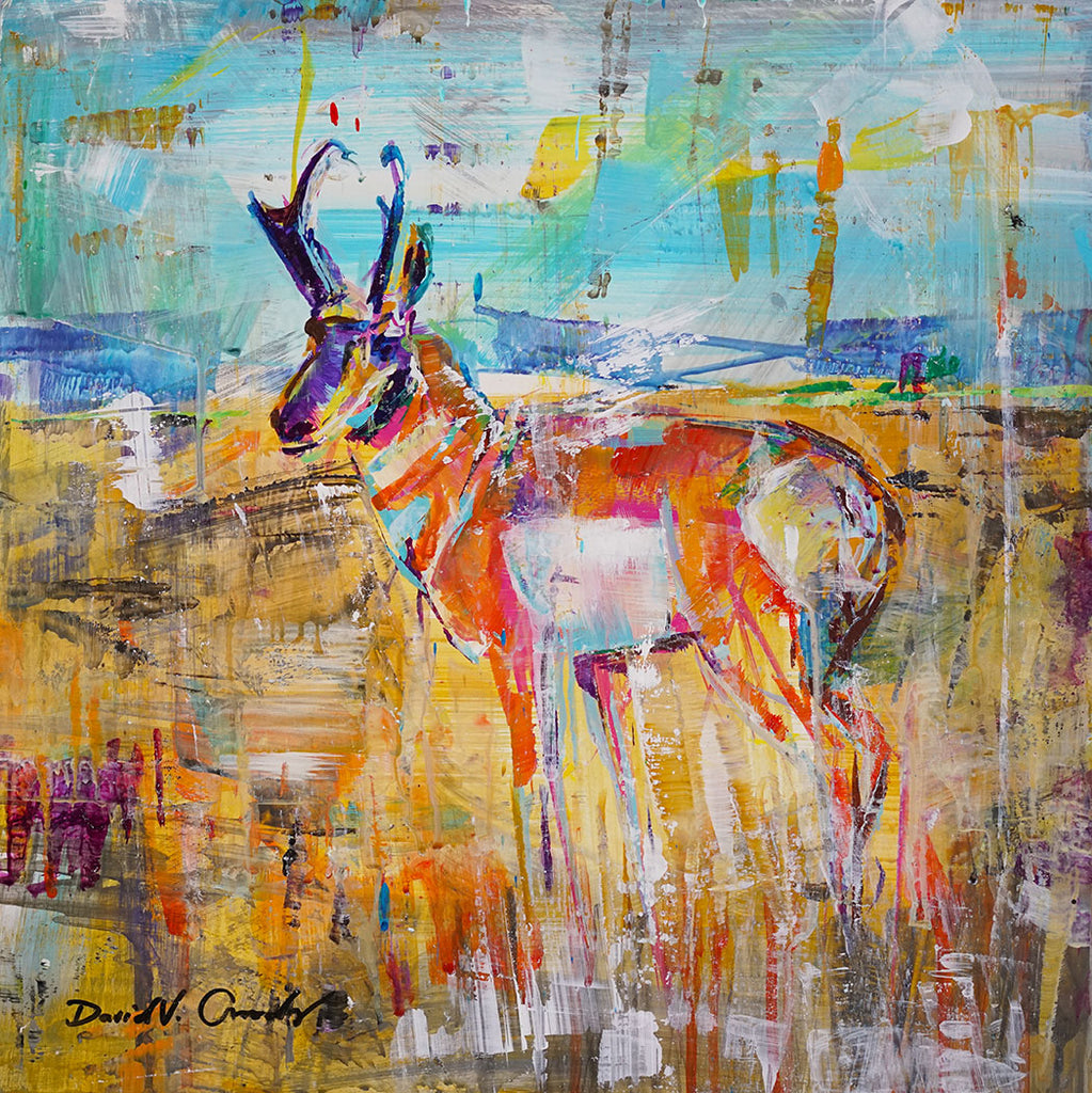 Awaiting original acrylic on panel pronghorn painting by Colorado artist David Gonzales