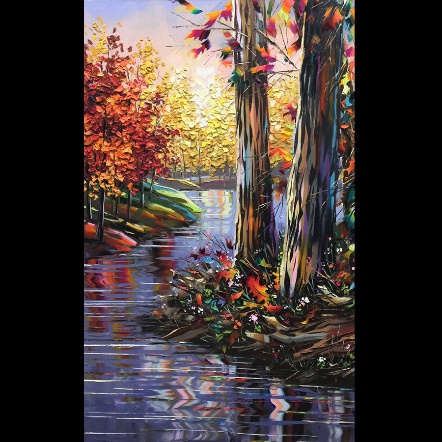 Beautiful Sunset original landscape oil painting by artist Michael Rozenvain