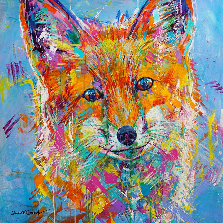 Benevolent original acrylic on panel fox painting by Colorado artist David Gonzales