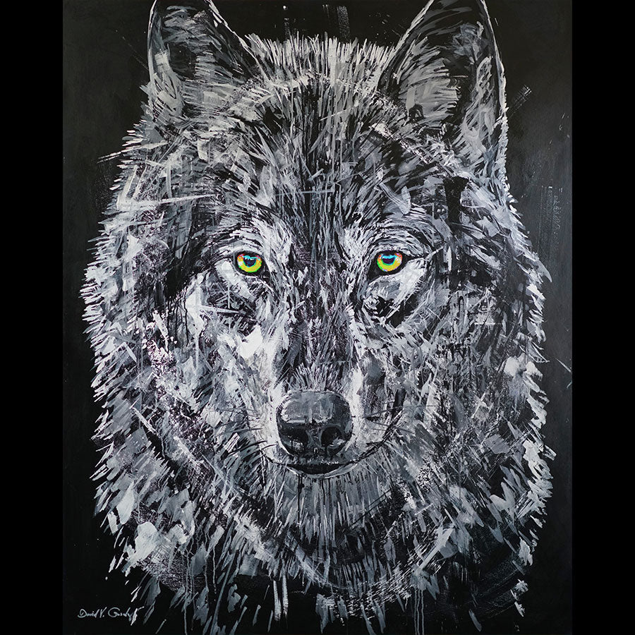 Beyond original acrylic on panel wolf painting by Colorado artist David Gonzales