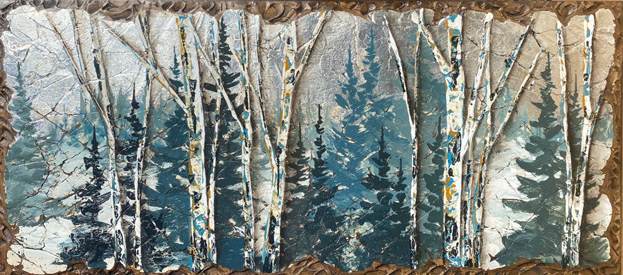 calm before the storm winter forest painting by artist rolinda stotts