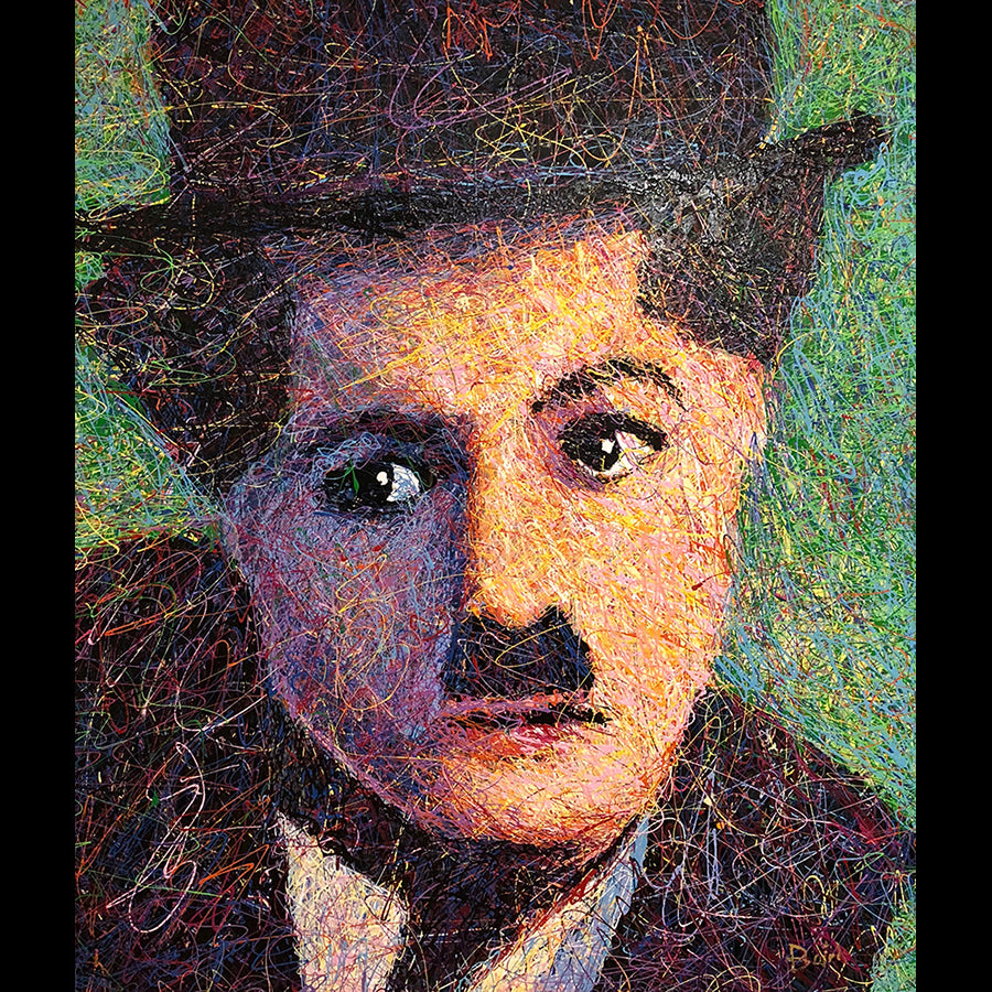painting of charlie chaplin by artist andy baird