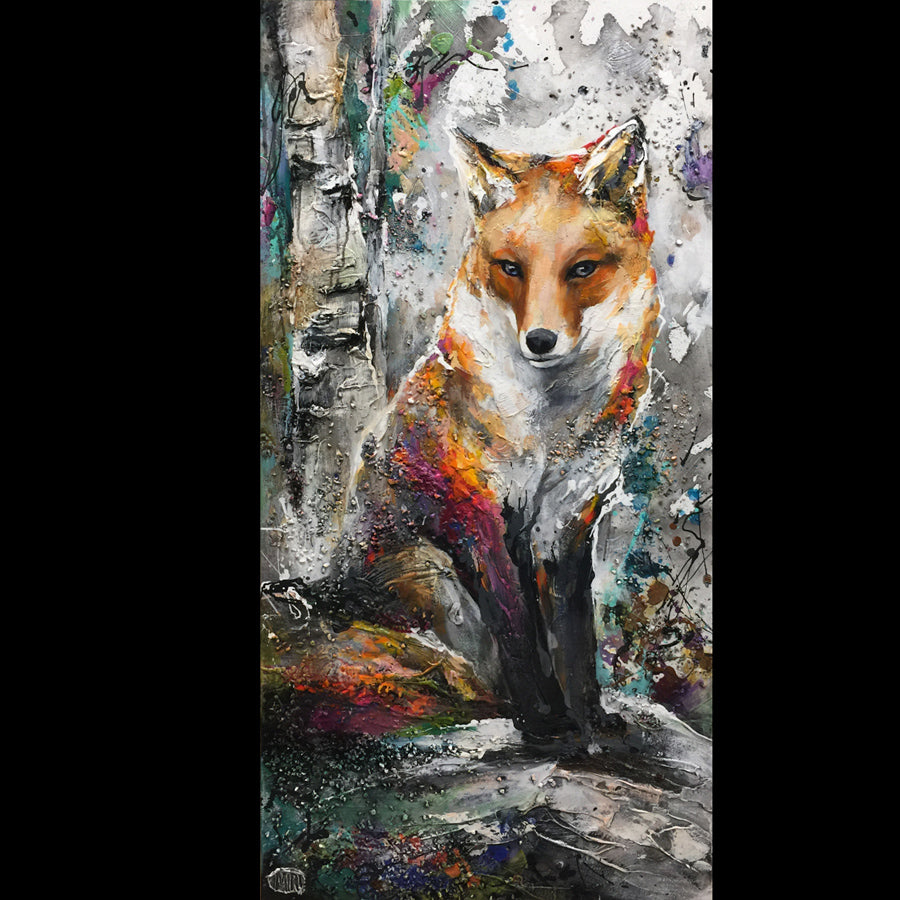 Clever Friend original fox painting by miri rozenvain for sale at Raitman Art Galleries located in Breckenridge and Vail, Colorado.