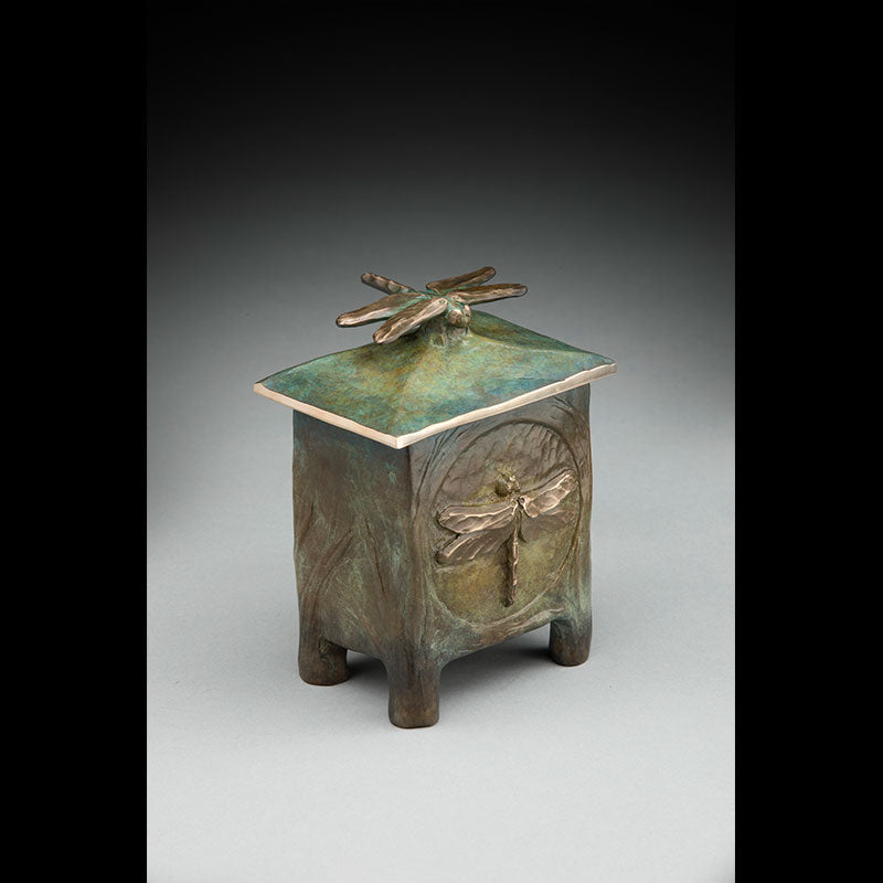 dragonfly bronze vessel by colorado artist james g moore