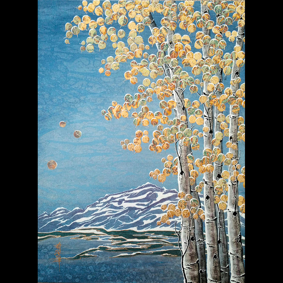 Early Snow original mountain landscape painting by Kate McCavitt
