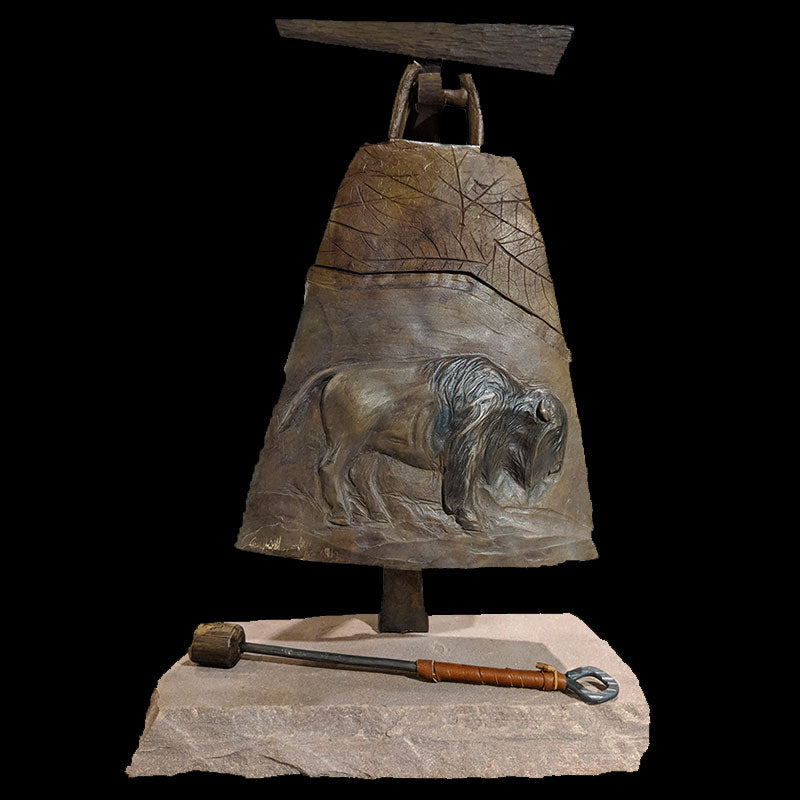 Earth bronze bell by Colorado artist Jim Moore