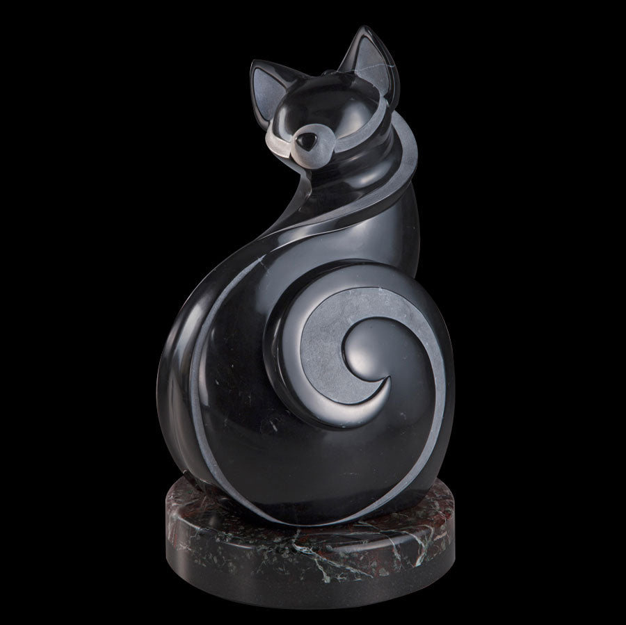 Feline Improvisation original marble sculpture by artist Ellen Woodbury