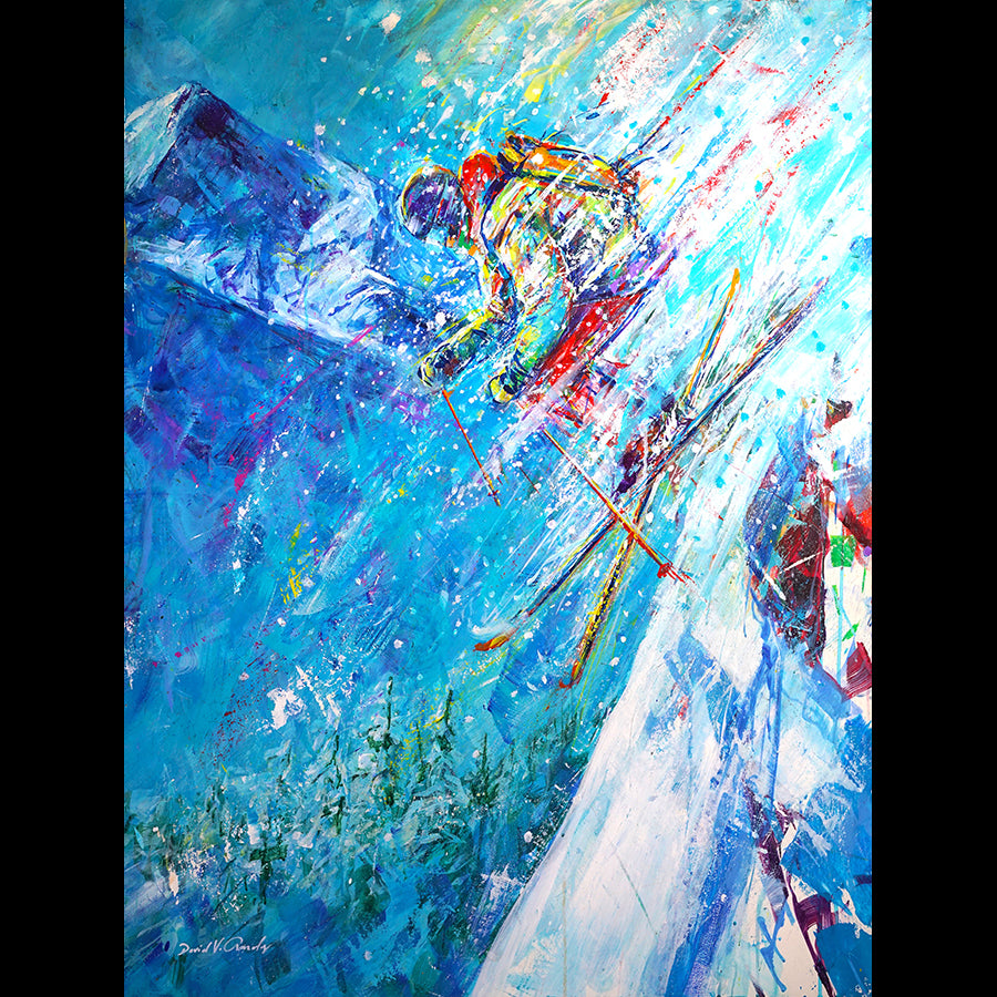 Enamored Day ski painting by Colorado artist David Gonzales in Vail art gallery