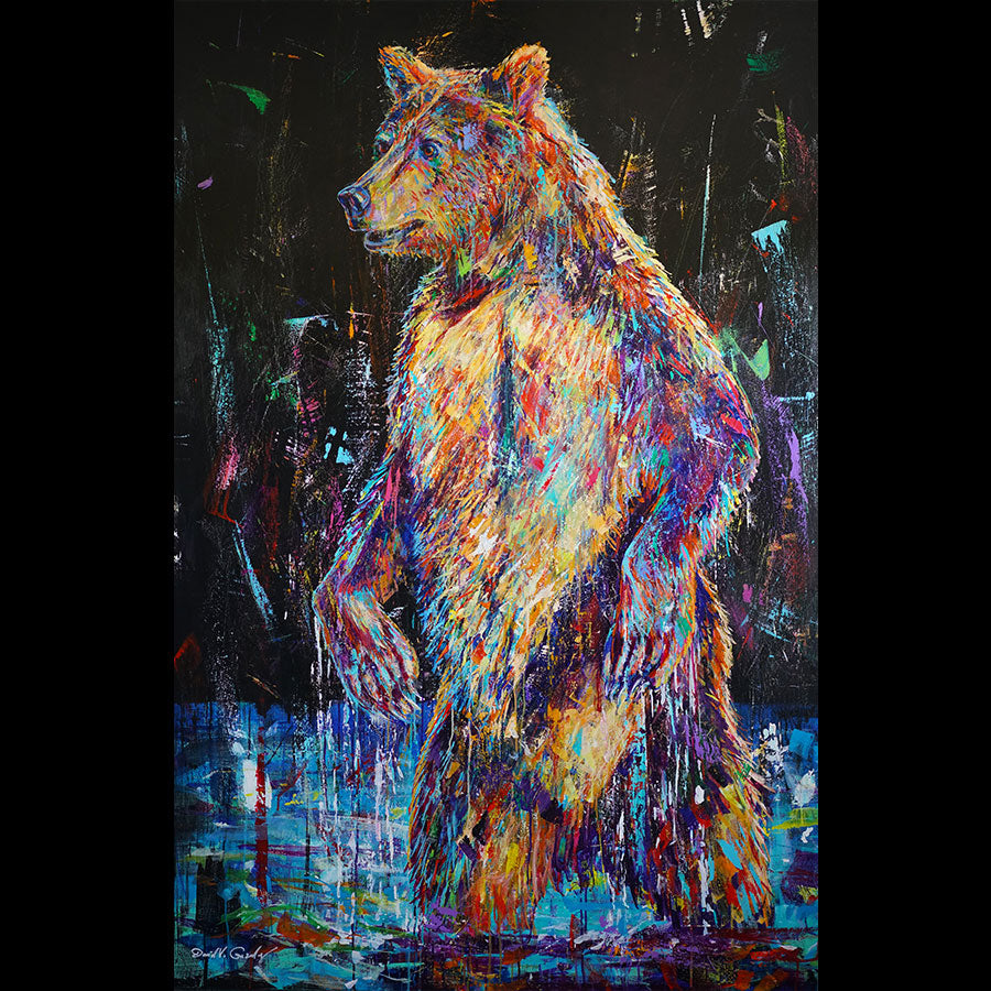 Entering Cold Waters original wildlife bear painting by Colorado based artist David V Gonzales