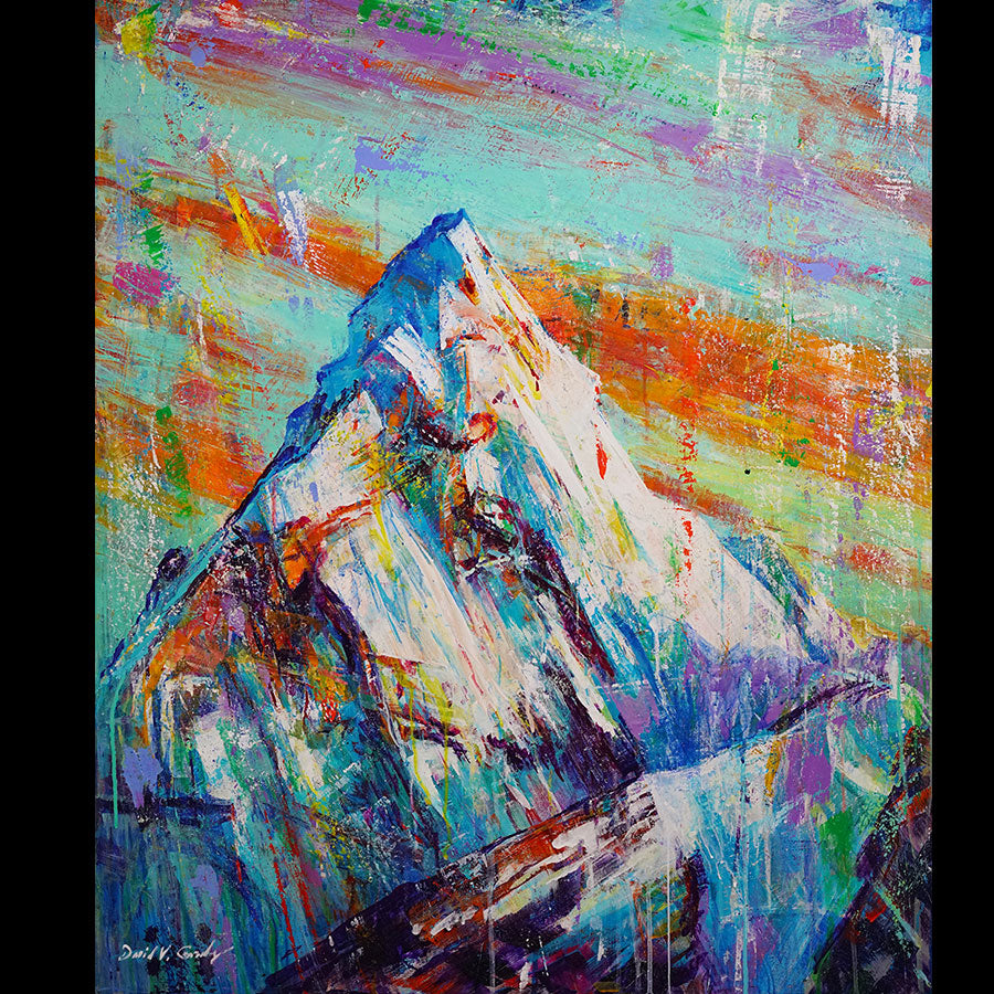 Everest original acrylic on panel mountain landscape by Colorado artist David V Gonzales