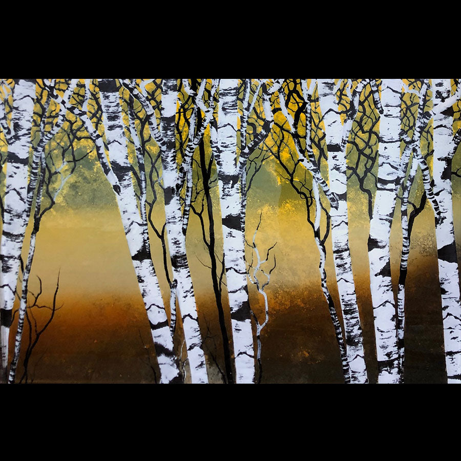 Expression original tree painting on hand carved cast acrylic by Colorado based artist Christopher Owen Nelson