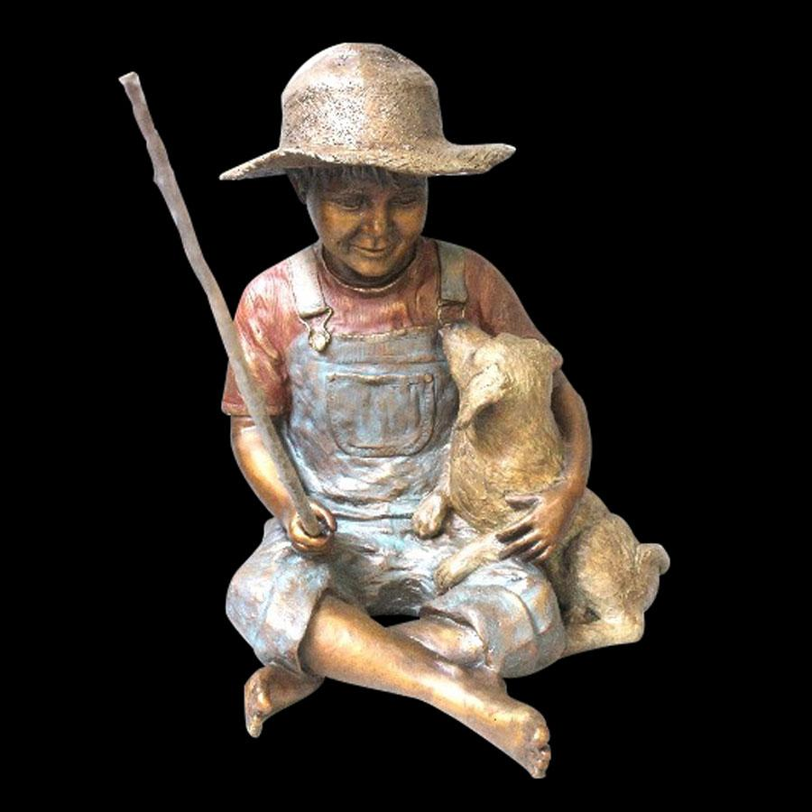 Fishin Buddies bronze sculpture by artist Marianne Caroselli