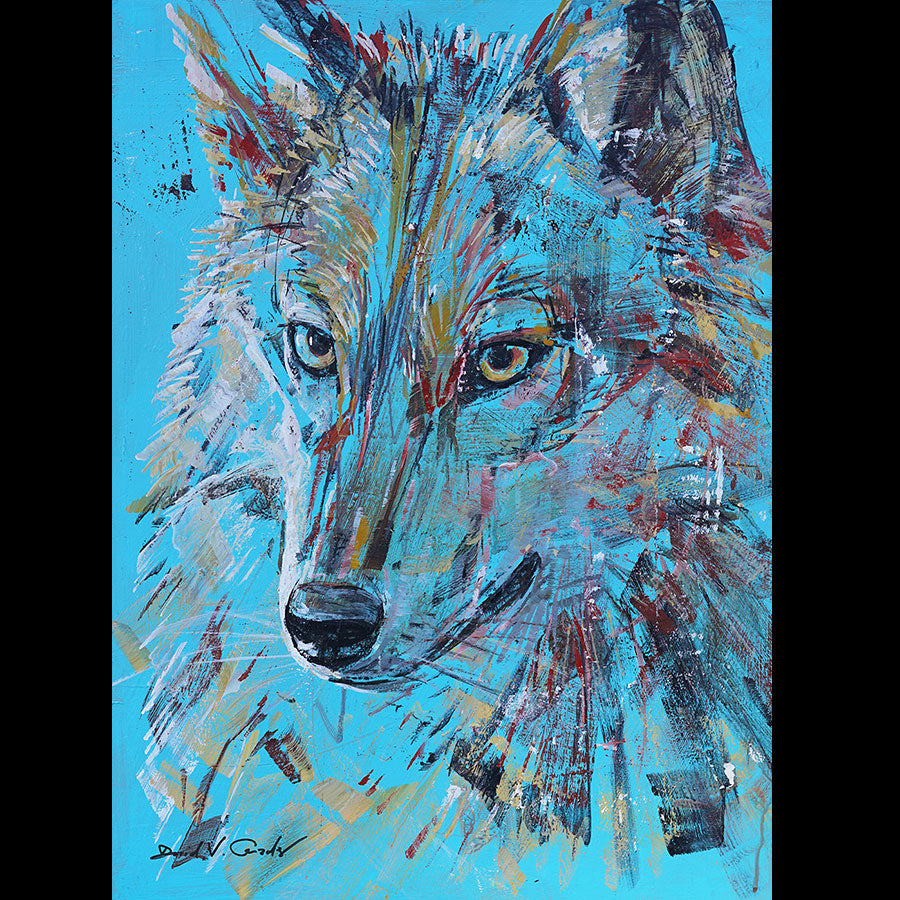 Gentle Spirit original acrylic on panel wolf painting by artist David Gonzales
