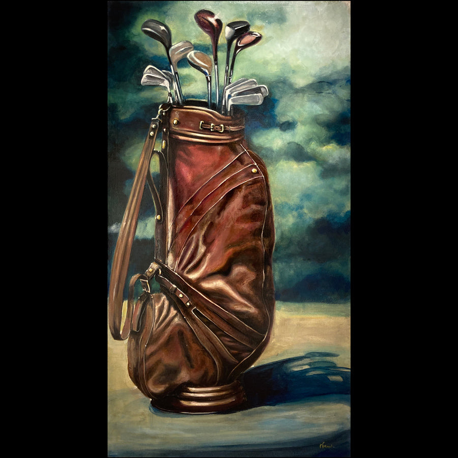 Golf Clubs original painting by Noemi Kosmowski for sale at Raitman Art Galleries located in Breckenridge and Vail Colorado
