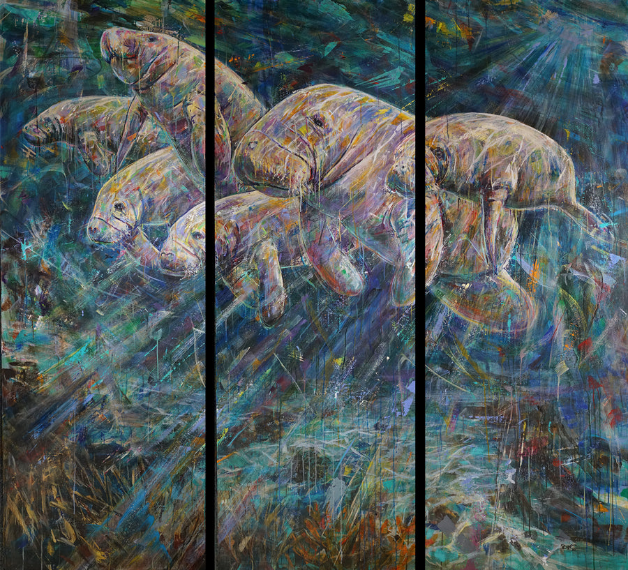 greetings manatee painting by artist david v gonzales
