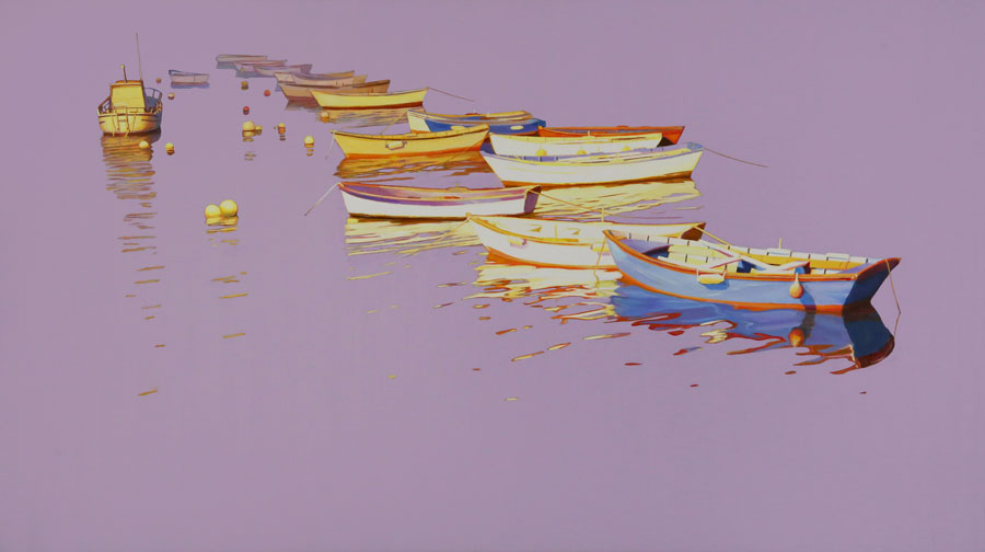 Harbor 18 original boat painting by artist Roger Hayden Johnson