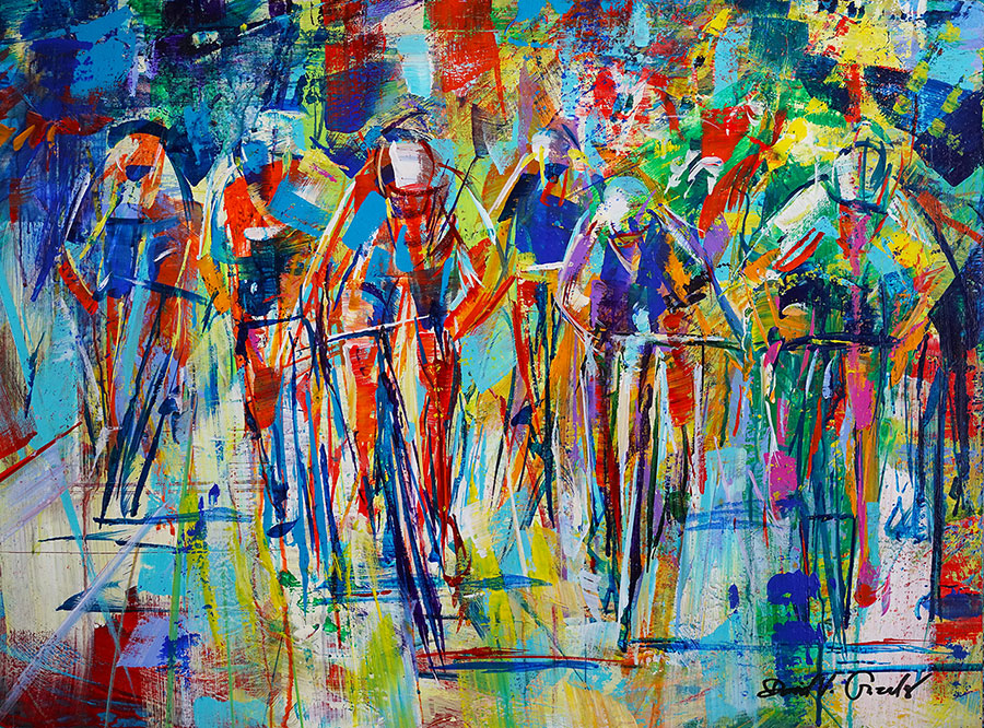 Heat is On original acrylic on canvas cycling painting by Colorado artist David Gonzales