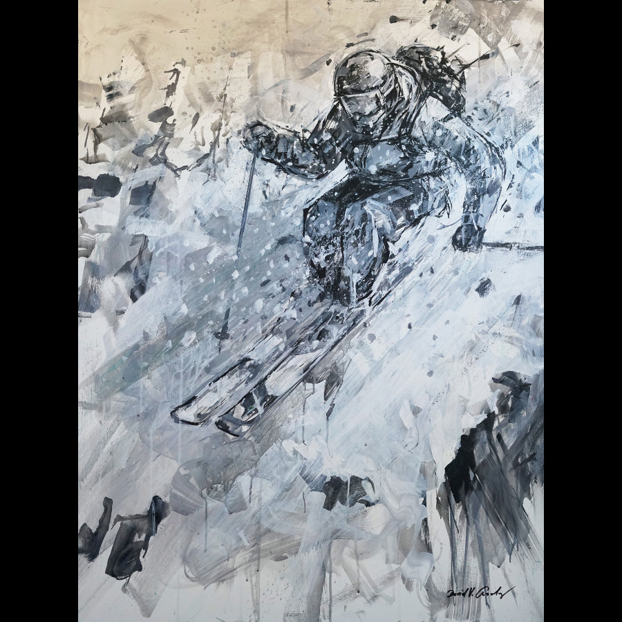 Hover black and white ski painting by artist David Gonzales in Vail art gallery