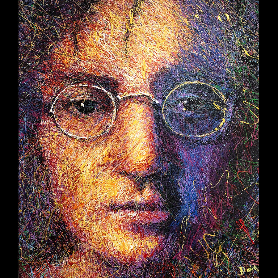 Drip painting of john lennon by Colorado artist andy baird