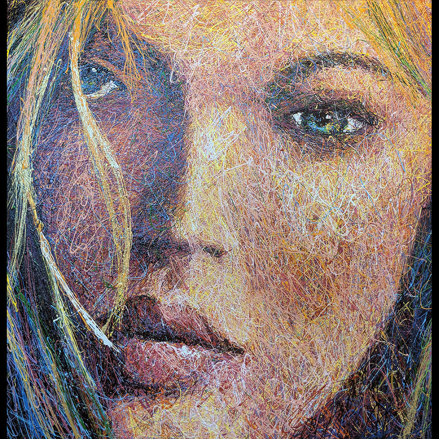 painting of kate moss by artist andy baird