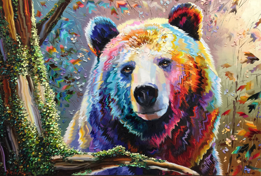 kind spirit original bear painting by artist michael rozenvain