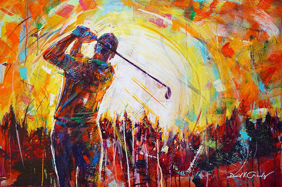 Launching into the Sunset original acrylic on panel golf painting by Colorado artist David Gonzales.
