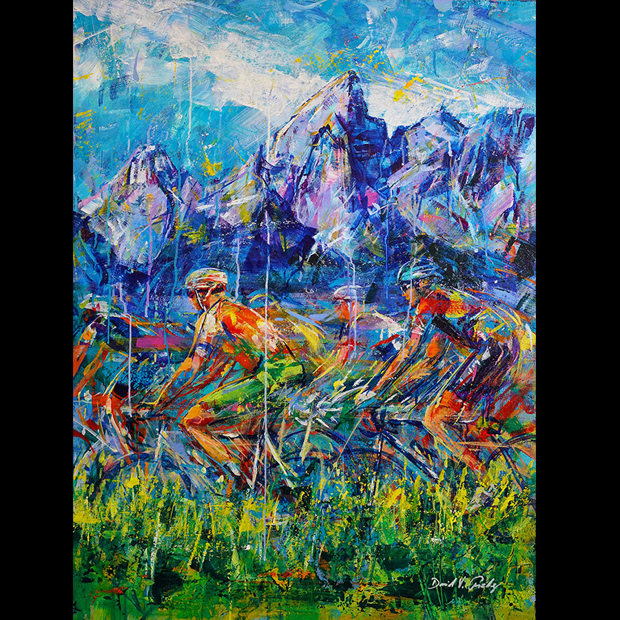 Majestic Ride original acrylic on panel cycling painting by Colorado artist David Gonzales