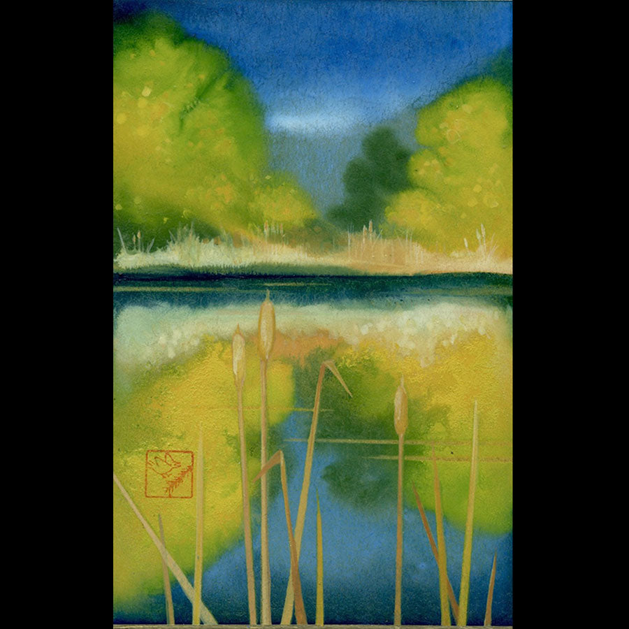 Melody Reflection mountain lake painting by artist kay stratman