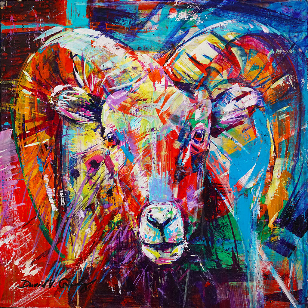 Mountain Chaperone original acrylic on panel bighorn sheep painting by Colorado artist David Gonzales