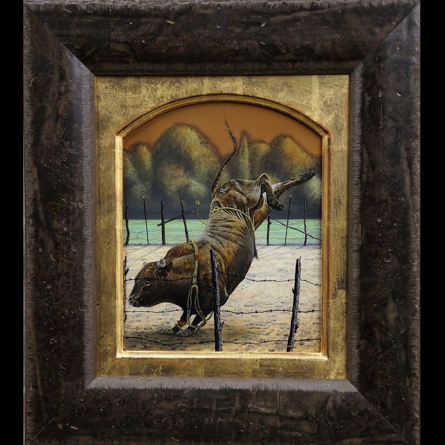 Mr. Bucker original ranch bull series patina on bronze artist Nathan Bennett art for sale