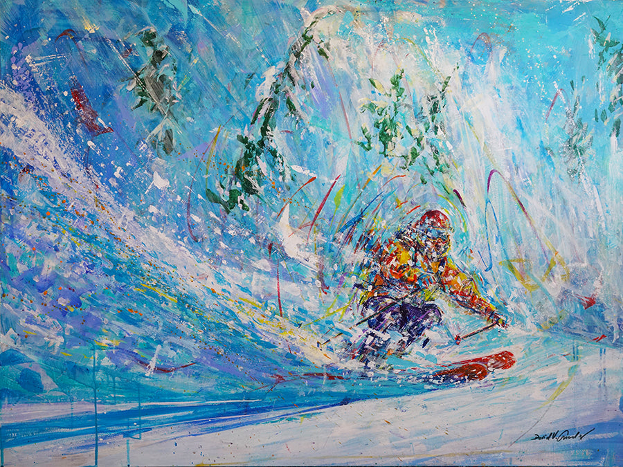Narrow Escape Ski Painting by Colorado artist David V. Gonzales