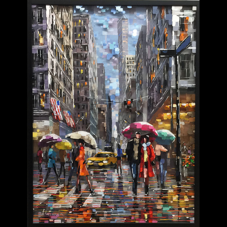 New York Reflections original painting of new york city by aleksandra rozenvain for sale at raitman art galleries