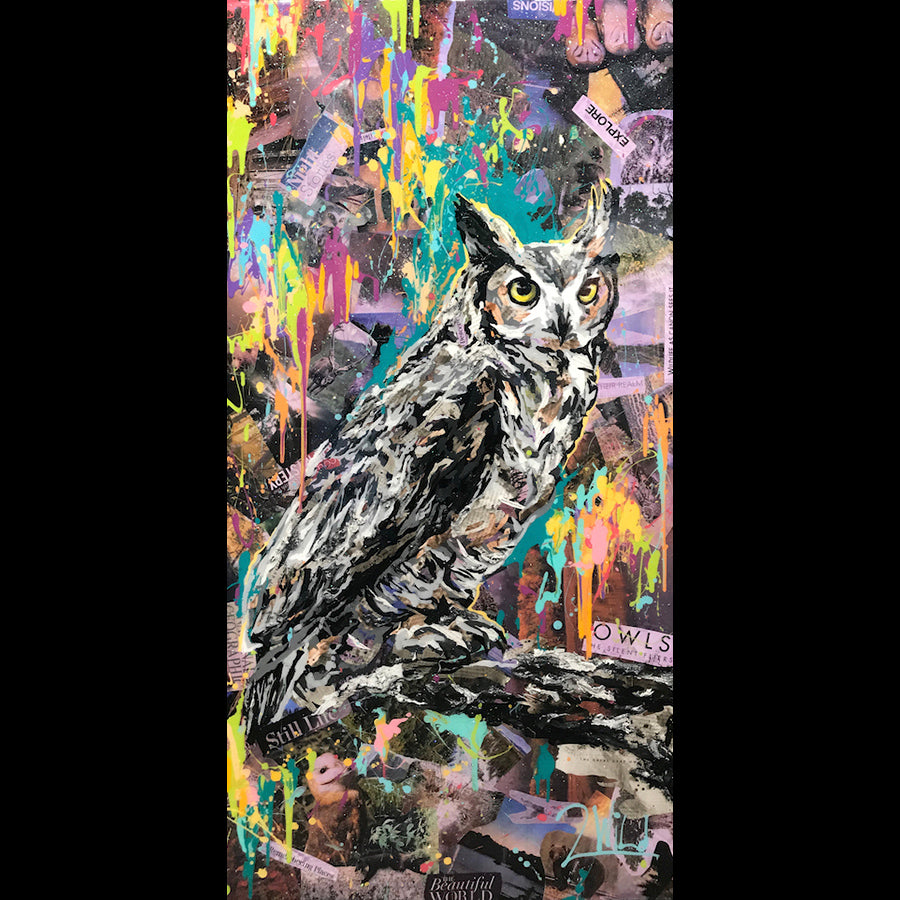 Night Stories owl painting by artist 2wild