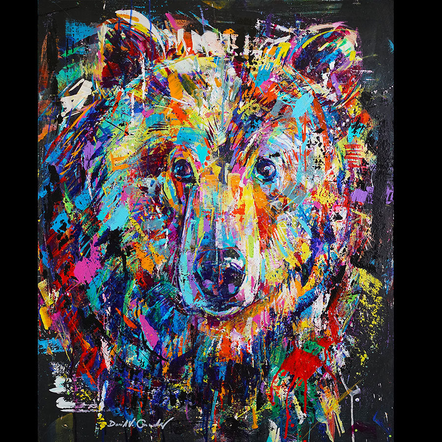 Noble original acrylic on panel wolf painting by Colorado artist David Gonzales