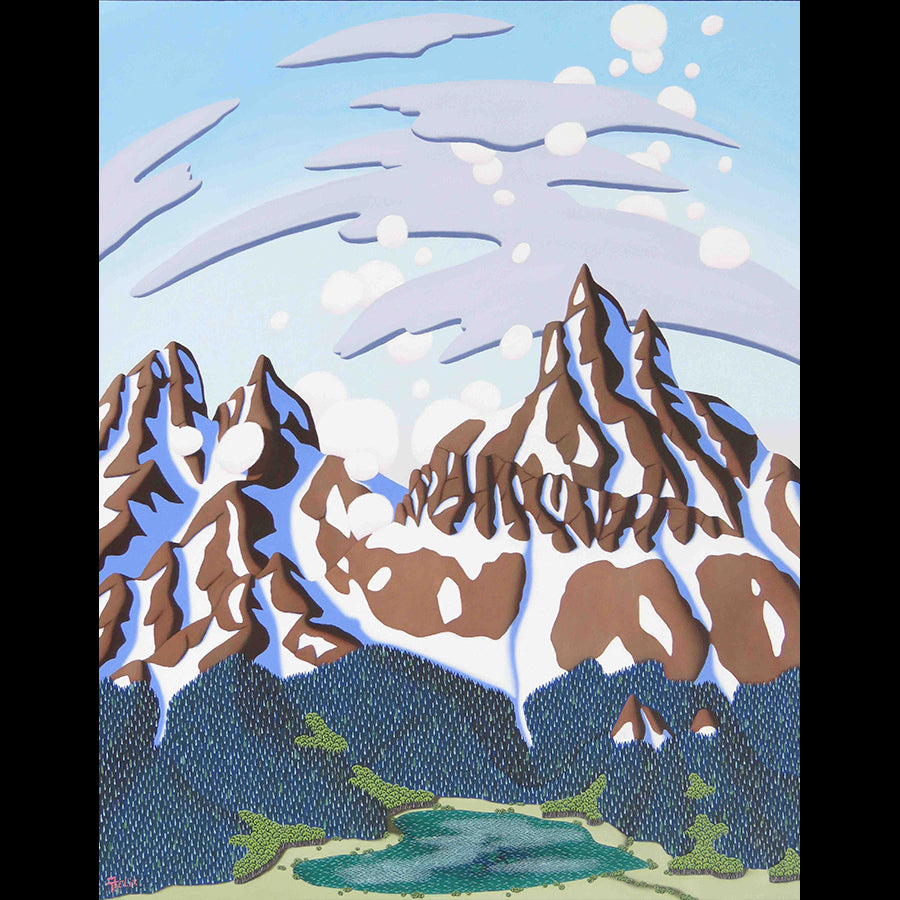 Peaceful Lake original mountain landscape painting by Tracy Felix for sale at Raitman Art Galleries
