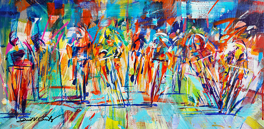 Pedal to the Metal original acrylic on panel cycling painting by Colorado artist David Gonzales