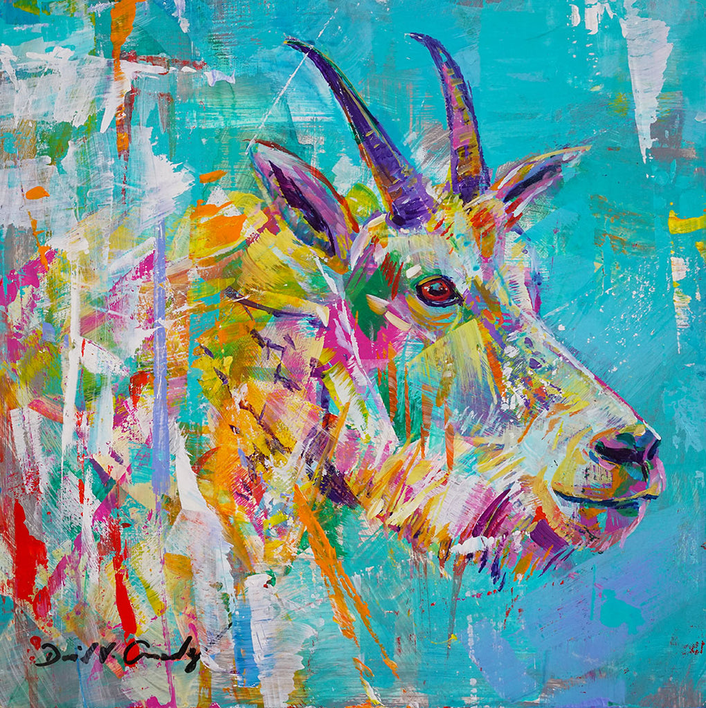 Pleastant original acrylic on canvas Rocky Mountain goat painting by Colorado artist David Gonzales