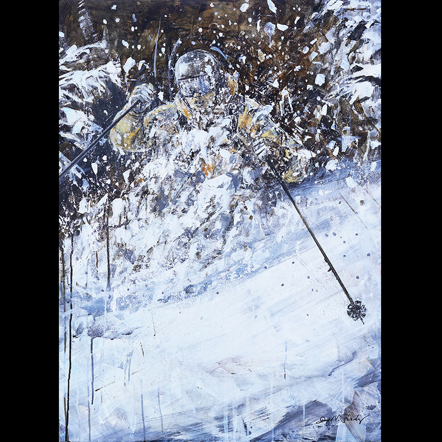 Plowing Powder original ski painting by artist David Gonzales