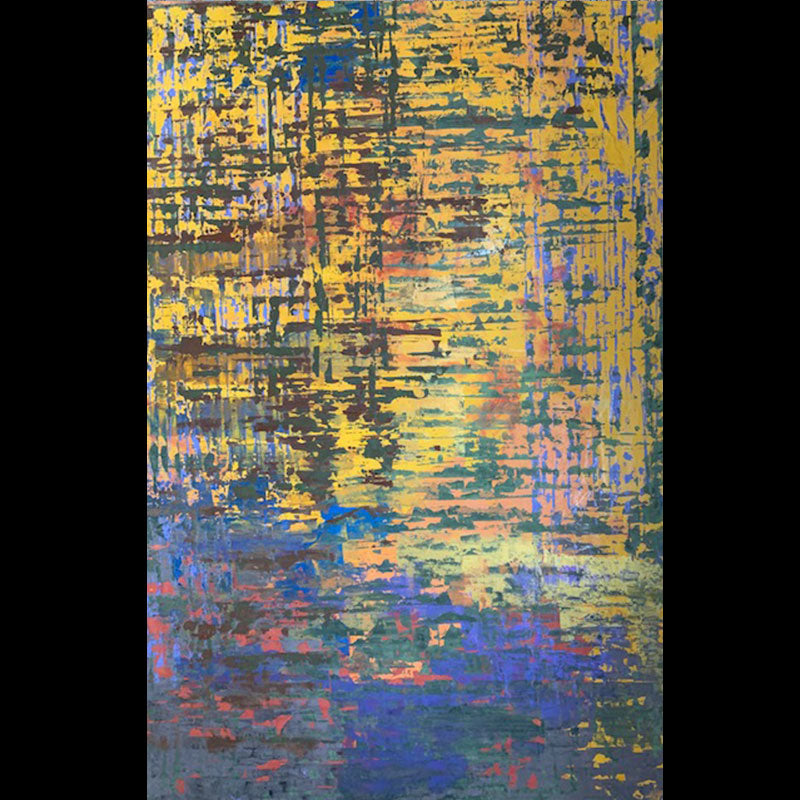 Reflection by the Lake original abstract painting by artist Kristof Kosmowski