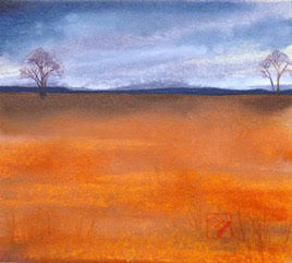 Refuge original watercolor landscape painting by Wyoming artist Kay Stratman