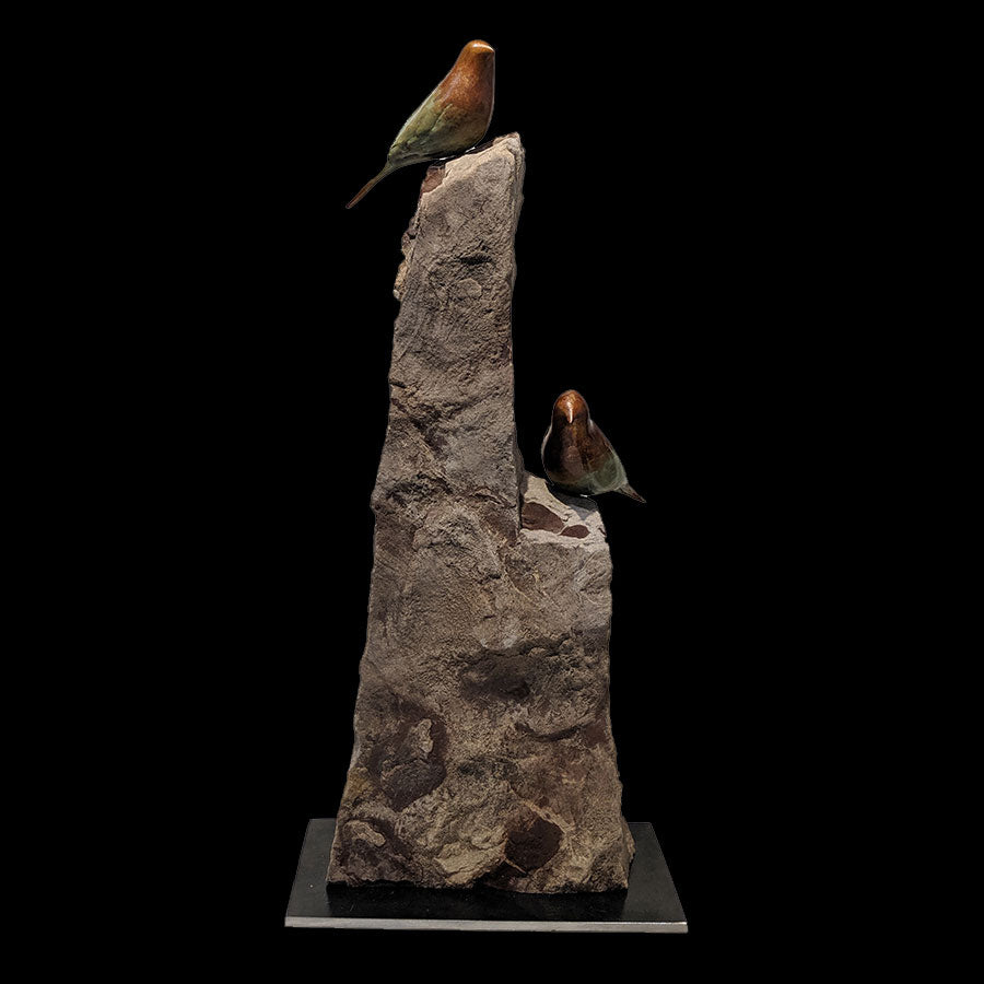 Songbirds Breck original bronze and sandstone sculpture by santa fe new mexico artist Gilberto Romero